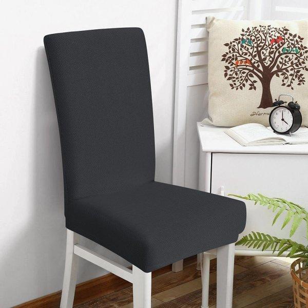 Κάλυμμα Καρέκλας Ελαστικό Elegance Ανθρακί Μονόχρωμο Lino Home