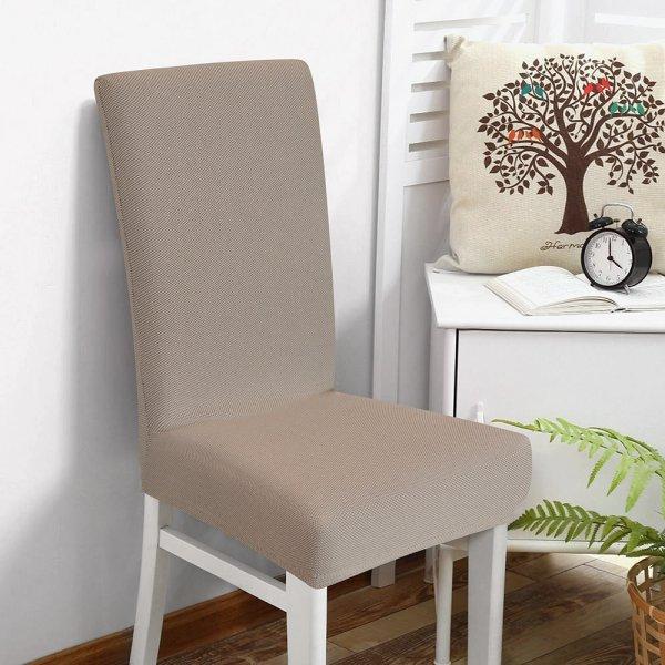 Κάλυμμα Καρέκλας Ελαστικό Elegance Μπεζ Μονόχρωμο Lino Home