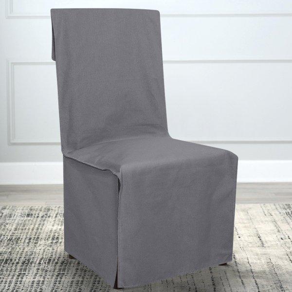 Κάλυμμα Καρέκλας Μονόχρωμο Mykonos Σκούρο Γκρι 807 Lino Home