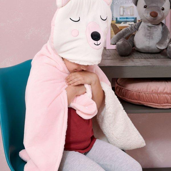Κουβέρτα Fleece Με Κουκούλα NB0126 Pink Palamaiki