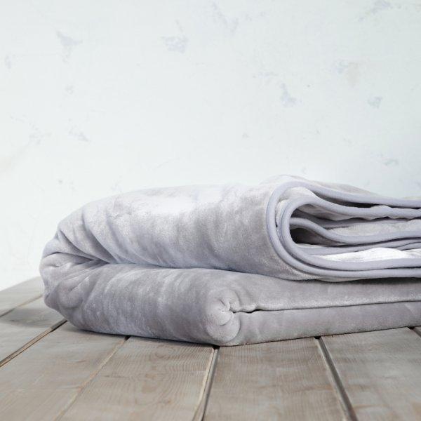 Κουβέρτα Βελουτέ Μονή Coperta Light Gray Nima Home
