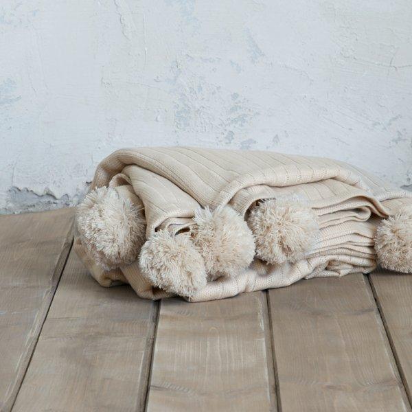 Κουβέρτα Πλεκτή Μονή Snug Beige Nima Home