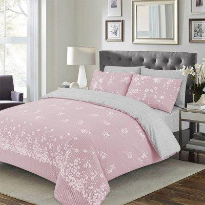 Σετ Σεντόνια Υπέρδιπλα Deluxe Yuko Pink Lino Home
