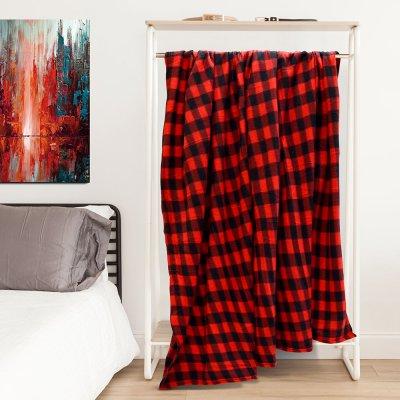 Κουβέρτα Fleece Υπέρδιπλη Karo Red Lino Home