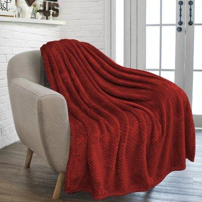 Κουβέρτα Fleece Υπέρδιπλη Rolin Bordo Lino Home