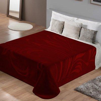 Κουβέρτα Βελουτέ Υπέρδιπλη Maralok Bordo Lino Home