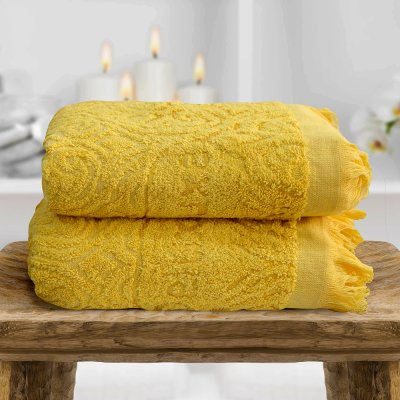 Σετ Πετσέτες Μπάνιου (2τμχ) Miranda Yellow Lino Home