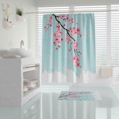 Κουρτίνα Μπάνιου (180x200) Sakura Aqua Lino Home