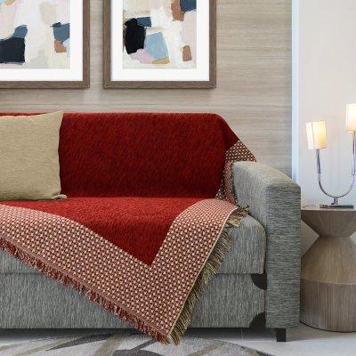 Ριχτάρι Τριθέσιου (180x300) Karla Red Lino Home