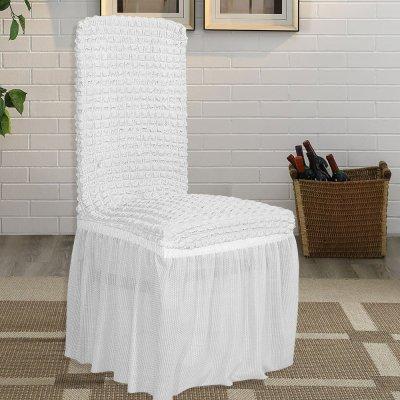 Κάλυμμα Καρέκλας Lycra Λευκό Lino Home
