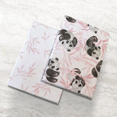 Σετ Σεντόνια Λίκνου Panda Bear 301 Pink Lino Home