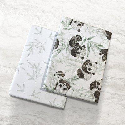 Σετ Σεντόνια Λίκνου Panda Bear 701 Green Lino Home