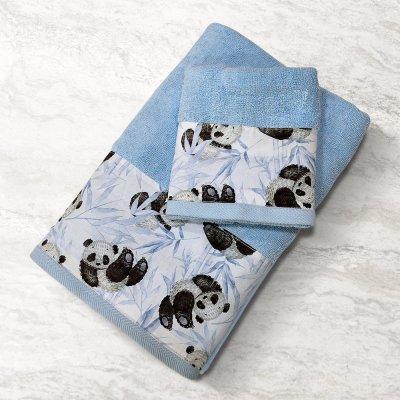 Σετ Πετσέτες Βρεφικές (2τμχ) Panda Bear 601 Blue-Ciel Lino Home