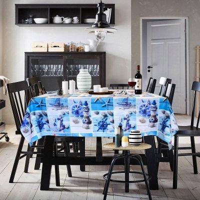 Αλέκιαστο Τραπεζομάντηλο (140x140) Cruz Blue Lino Home