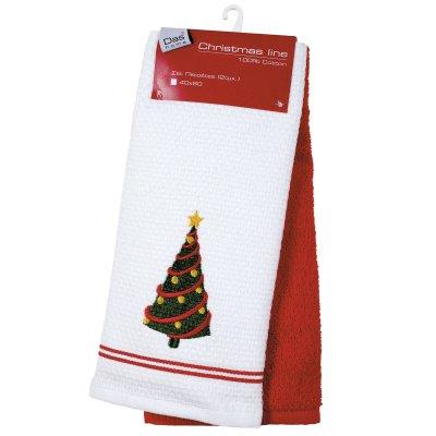 Σετ Χριστουγεννιάτικα Ποτηρόπανα (2τμχ) 0587 Das Home