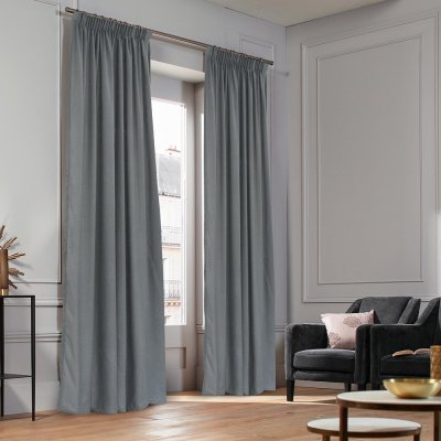 Κουρτίνα (140x235) Με Τρέσα Micro Dark Gray Lino Home