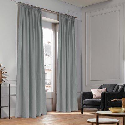 Κουρτίνα (140x235) Με Τρέσα Micro Light Gray Lino Home