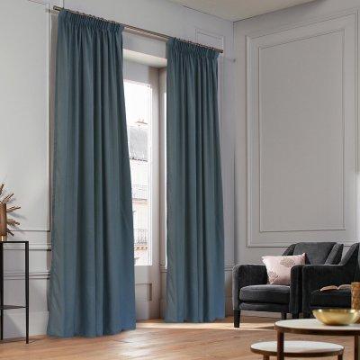 Κουρτίνα (140x235) Με Τρέσα Micro Gray Blue Lino Home