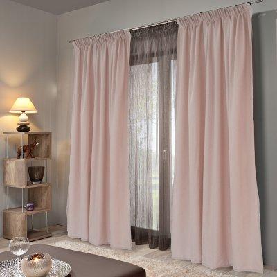 Κουρτίνα (140x235) Με Τρέσα Emb Micro Old Pink Lino Home