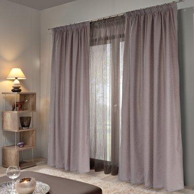 Κουρτίνα (140x235) Με Τρέσα Emb Micro Dusty Lilac Lino Home