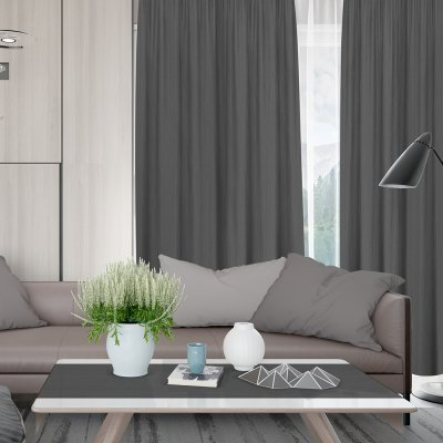 Κουρτίνα (140x280) Με Τρέσα Loneta C809 Dark Gray Lino Home