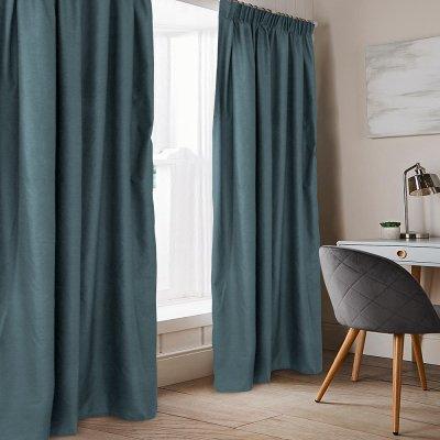 Κουρτίνα (140x235) Με Τρέσα Emb Karen Gray Blue Lino Home