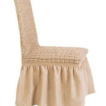 Κάλυμμα Καρέκλας Ελαστικό Εκρού Με Φούστα Ariete Home
