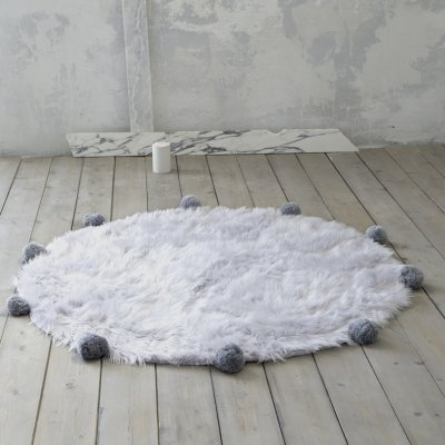 Στρογγυλό Χαλί (R150) Fluffy Gray Deco Nima Home