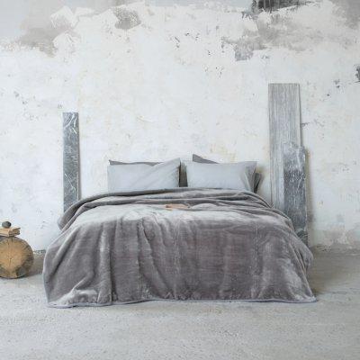 Κουβέρτα Βελουτέ Μονή Coperta Gray Nima Home