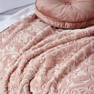 Κουβέρτα Βελουτέ Υπέρδιπλη Daphne Dusty Pink Palamaiki