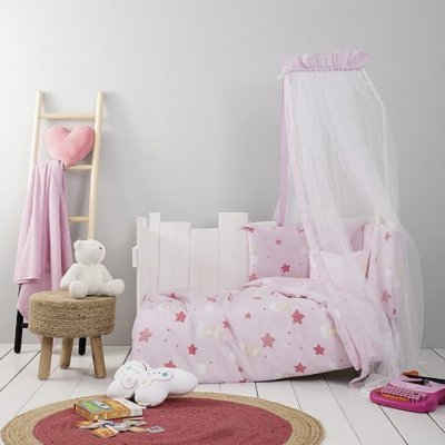 Σετ Σεντόνια Κούνιας Baby Star Pink Nima Kids