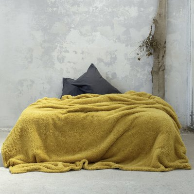 Κουβέρτα Fleece Υπέρδιπλη Manta Mustard Beige Nima Home